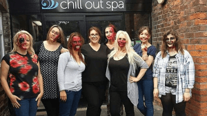 Jen Hunter and the learners at Chill Out Spa
